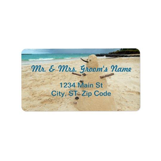 Sand Snowman Beach Medium Address Labels