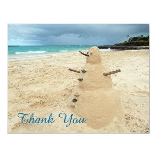 Sand Snowman Beach Thank You Card 11 Cm X 14 Cm Invitation Card