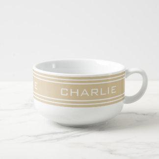 Sand Stripes custom monogram soup mug