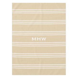 Sand Stripes custom monogram table cloths