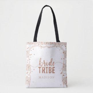Sand Stripes & Rose Gold Confetti Bride Tribe Tote Bag