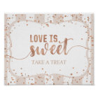 Sand Stripes & Rose Gold Confetti Love is Sweet Poster