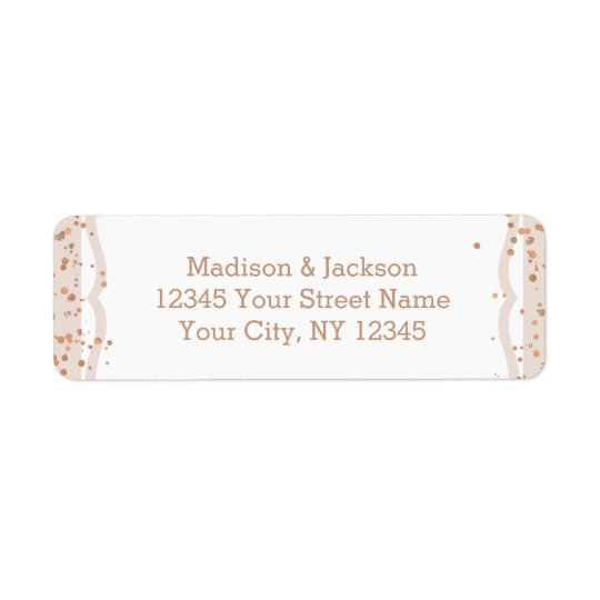 Sand Stripes & Rose Gold Wedding Return Address