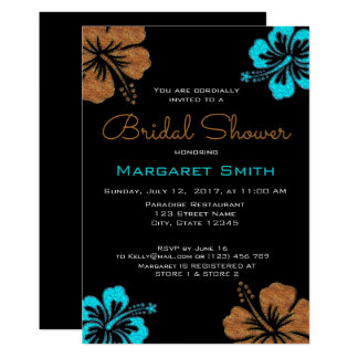 Sand & Turquoise Hibiscus Bridal Shower Card