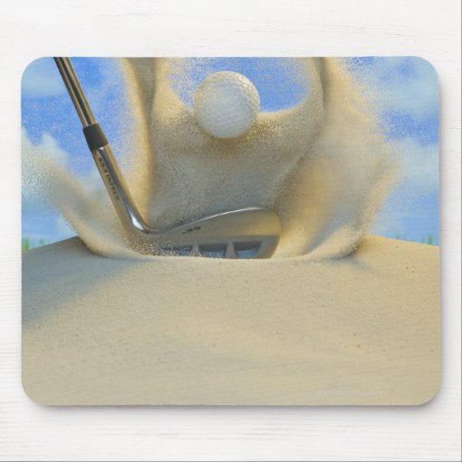 sand wedge hitting a golf ball out of a sand 2 mouse pads
