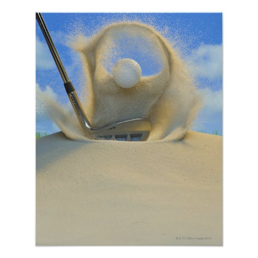 sand wedge hitting a golf ball out of a sand 2 poster