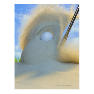 sand wedge hitting a golf ball out of a sand postcard