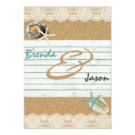 Sand Wood and Lace beach themed wedding invitation
