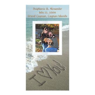 Sand Writing on the Beach, I Love You Customised Photo Card
