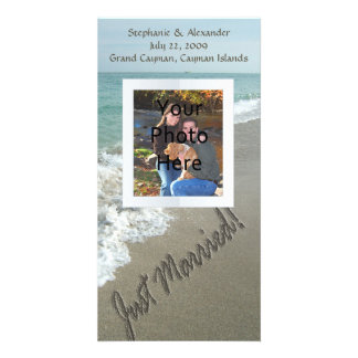 Sand Writing on the Beach Just Married Picture Card