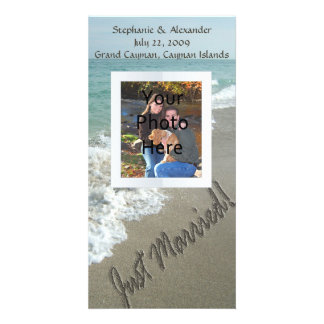 Sand Writing on the Beach Just Married Photo Card Template