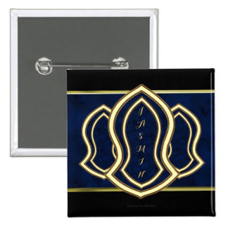 Sandal Of The Prophet (Blue) Marble & Gold 15 Cm Square Badge