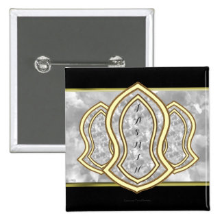 Sandal Of The Prophet (White) Marble & Gold 15 Cm Square Badge