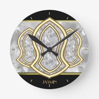 Sandal Of The Prophet (White) Marble & Gold Round Clock