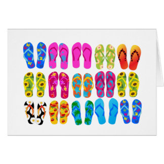 Sandals Colorful Fun Beach Theme Summer Card
