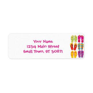 Sandals Colorful Fun Beach Theme Summer Return Address Label
