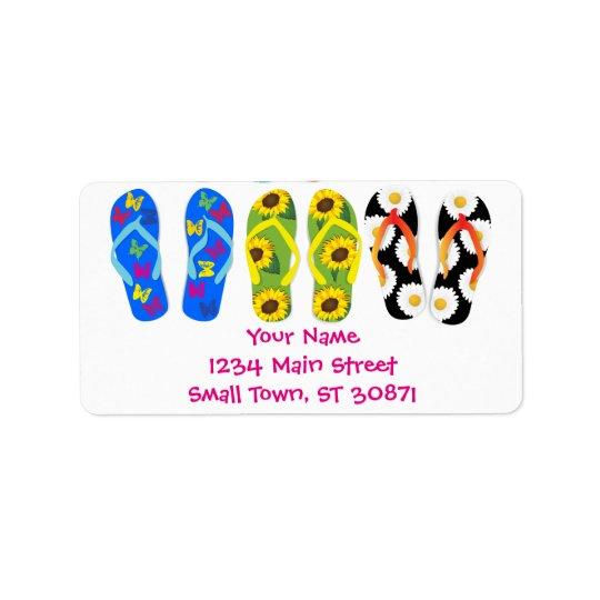 Sandals Colourful Fun Beach Theme Summer Label