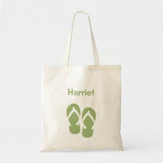 Sandals flip flop summer green custom tote bag