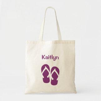 Sandals flip flop summer purple custom tote bag