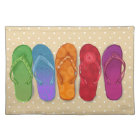 Sandals flip-flops beach party - sand dots placemat