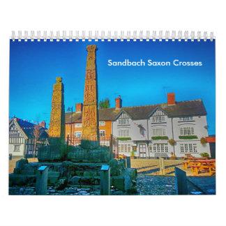 Sandbach Saxon Crosses Medium, White Calendar