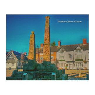 "Sandbach Saxon Crosses Wall Art 10 x 8"" Wood Print"