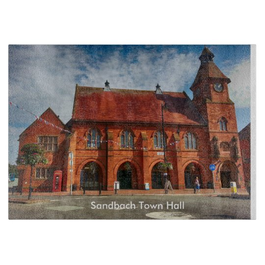 "Sandbach Town Hall Glass Chopping Board 11"" x 8"""