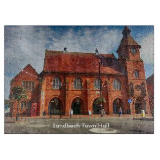 "Sandbach Town Hall Glass Chopping Board 15"" x 11"""