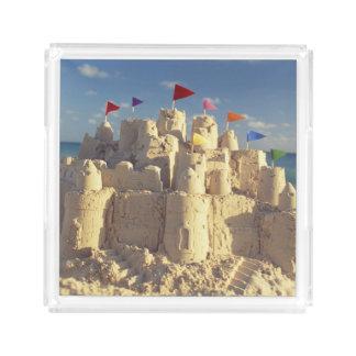 Sandcastle On Beach Acrylic Tray