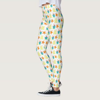Sandcastle Sand Castle Starfish Pail Beach Ocean Leggings