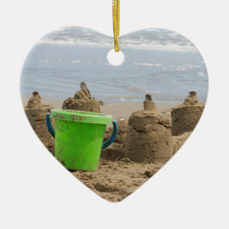 sandcastles on the beach christmas ornament