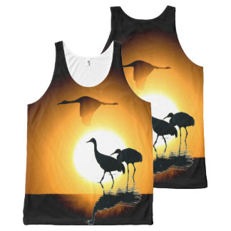 Sandhill Crane Birds Wildlife Animals Sun All-Over Print Tank Top