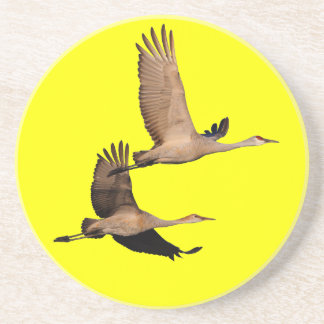 sandhill cranes in flight beverage coasters