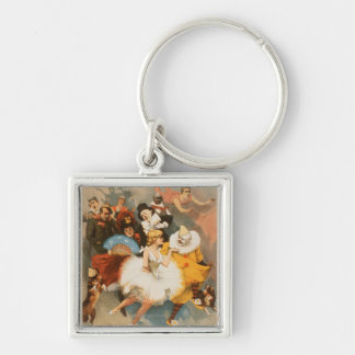 Sandow Trocadero Vaudevilles Carnival Theme Silver-Colored Square Key Ring