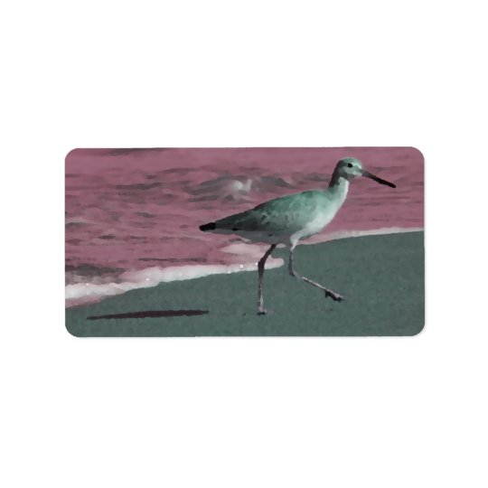 sandpiper abstract red green on beach address label