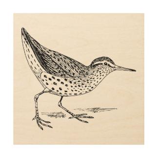 Sandpiper Bird Art Wood Print