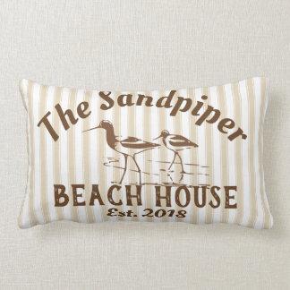 Sandpiper Birds & Stripes Beach House Neutral Lumbar Cushion