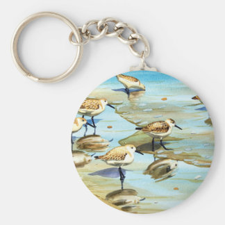 Sandpipers Basic Round Button Key Ring