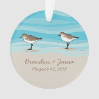 Sandpipers on Beach Wedding Date Names in Sand Ornament