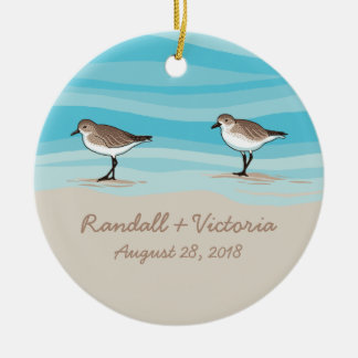 Sandpipers on Beach Wedding Date Names in Sand Round Ceramic Decoration