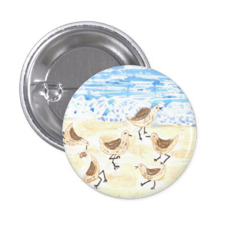 Sandpipers on Old Orchard Beach, Maine 3 Cm Round Badge