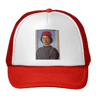 Sandro Botticelli- Portraitof a young man,redcap Cap