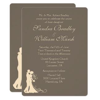 Sandstone Brown and Cream Wedding Invitation