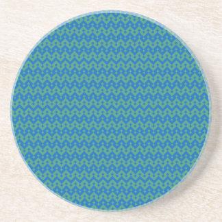 Sandstone Coaster, Emerald and Blue Geometric Coaster