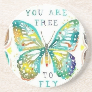 Sandstone coaster with butterfly and quote