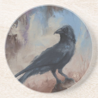 Sandstone Coaster with Crow