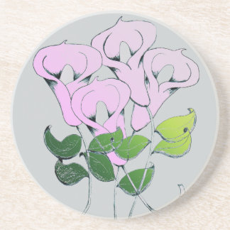 Sandstone Coaster with Lily Flower Art