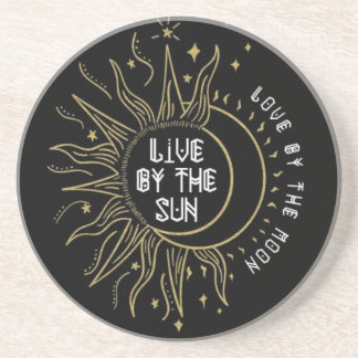 Sandstone coaster with sun and moon quote