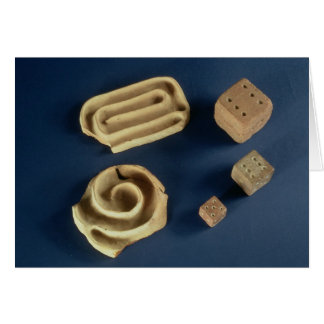 Sandstone dice and terracotta maze game, Harappa, Card
