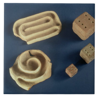 Sandstone dice and terracotta maze game, Harappa, Large Square Tile